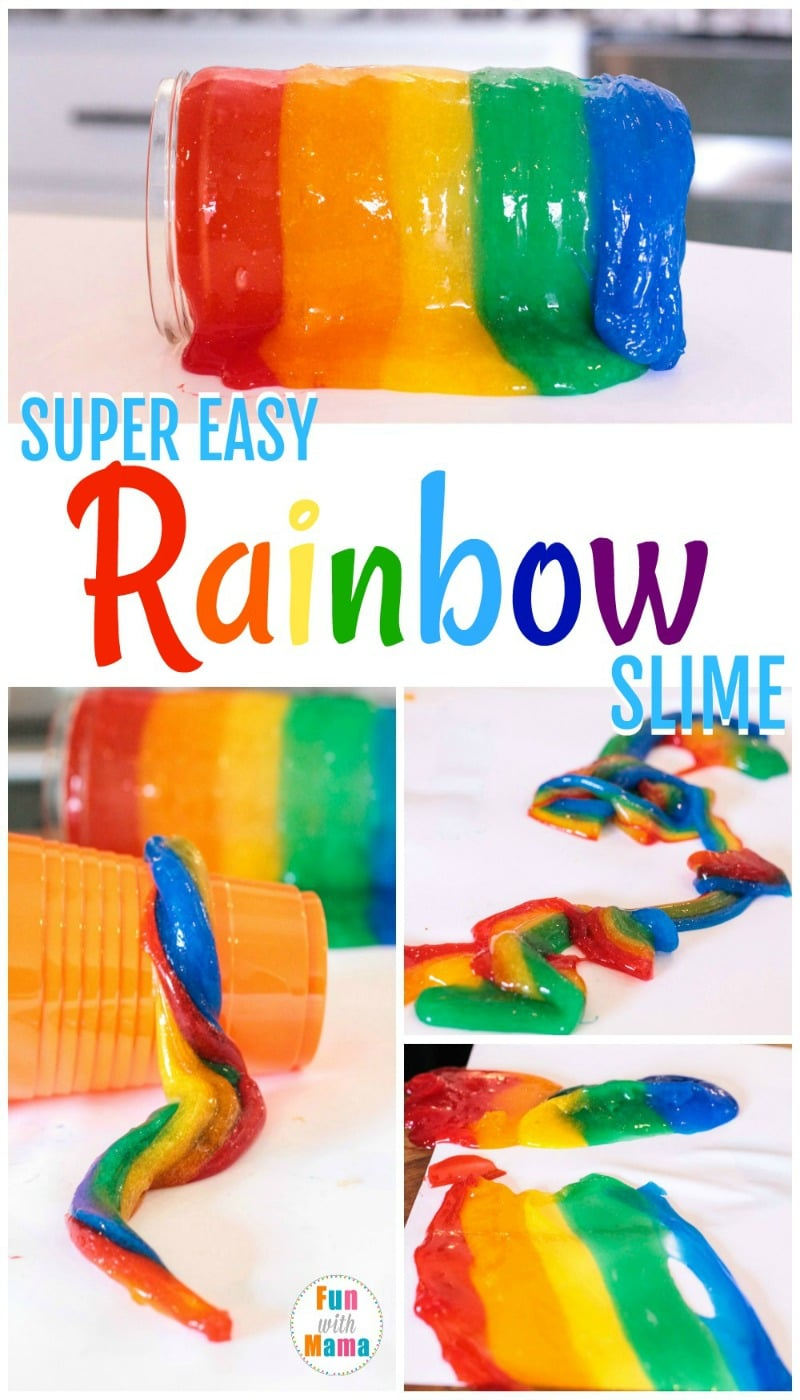 Don't let the winter blues get you down. Instead of shivering in the ice and snow, bring a little sunshine into your life with this super easy rainbow slime recipe!  There is no better way to make the kids smile at the end of the day than by telling them they will be making slime! Although slime is a bit messy, this particular version made with clear glue is easier to clean up than most, and we've found that using clear glue is almost foolproof.