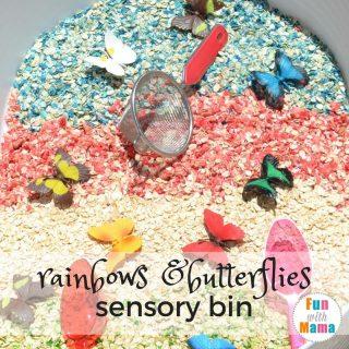 Rainbows and Butterflies Sensory Bin