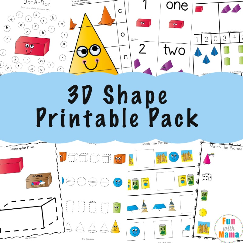 3d Shape Worksheets Fun With Mama - 19+ Kindergarten 2D And 3D Shapes Worksheets Pics