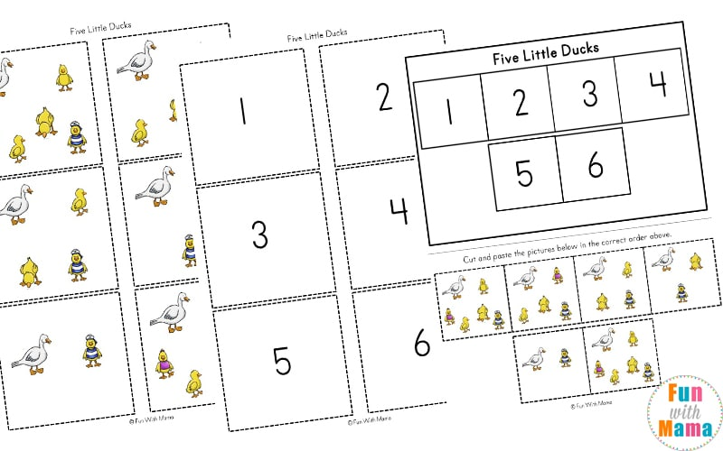 five little ducks worksheets