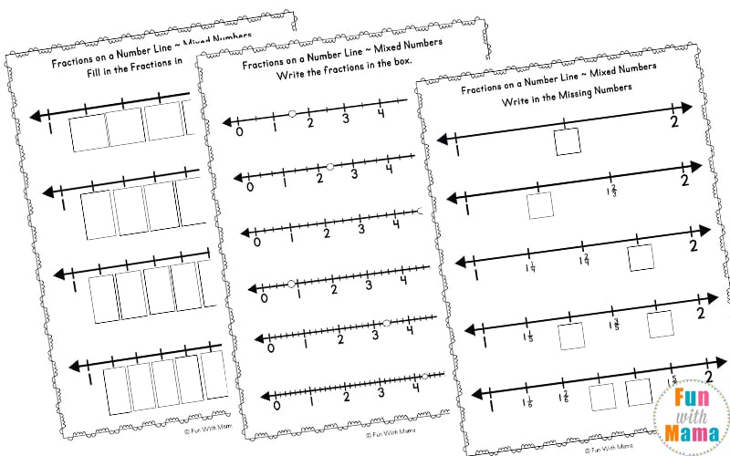 Fractions On A Number Line Worksheets  Fun With Mama Fractions On A Number Line Worksheets