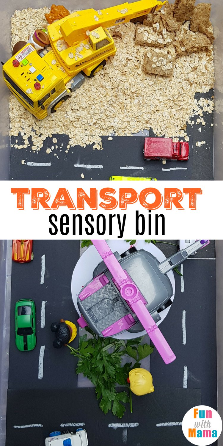easy transport sensory bin. A great car, truck and construction themed sensory bin - perfect for sensory play for toddlers and preschoolers. #sensorybin