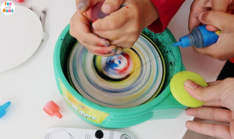 Action Art Spin Painting For Kids - Fun with Mama