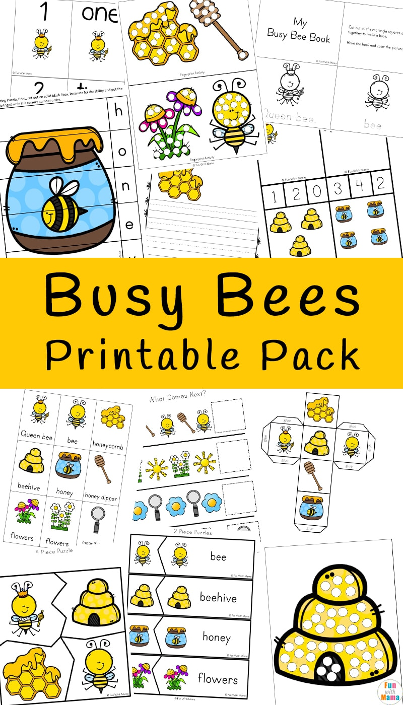 Fun bumble bees activities including coloring pages, puzzles, clip cards and more!