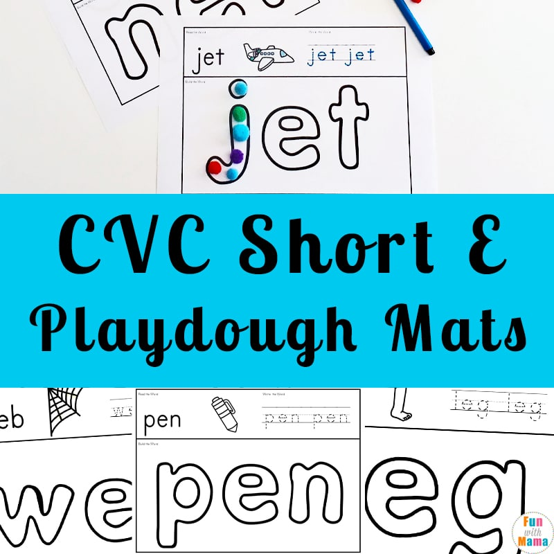 Short e sound play dough mats