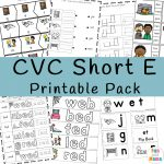 CVC Short E Words Worksheets