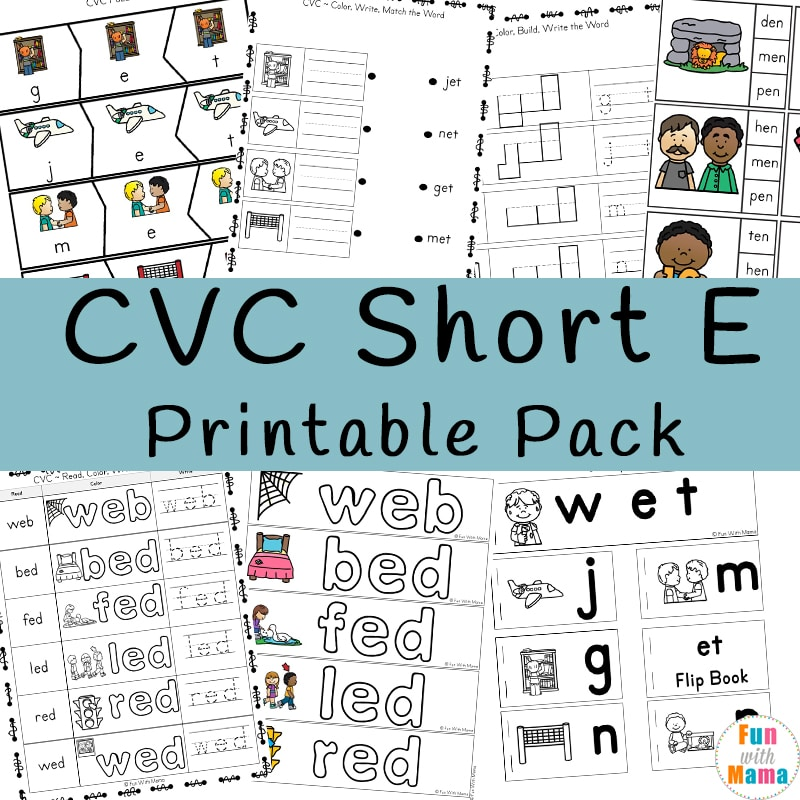 Cvc Short E Words Worksheets Fun With Mama