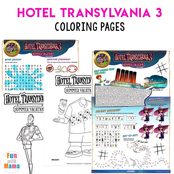 hotel transylvania 3 coloring pages Hotel Transylvania 3 Summer Vacation Coloring Pages   Fun with Mama hotel transylvania 3 coloring pages