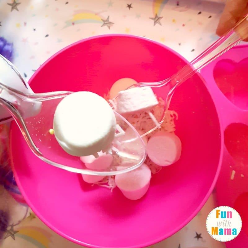 unicorn sensory bin playing 3