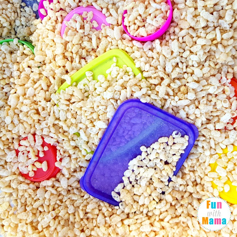 easy shapes sensory bin hiding them