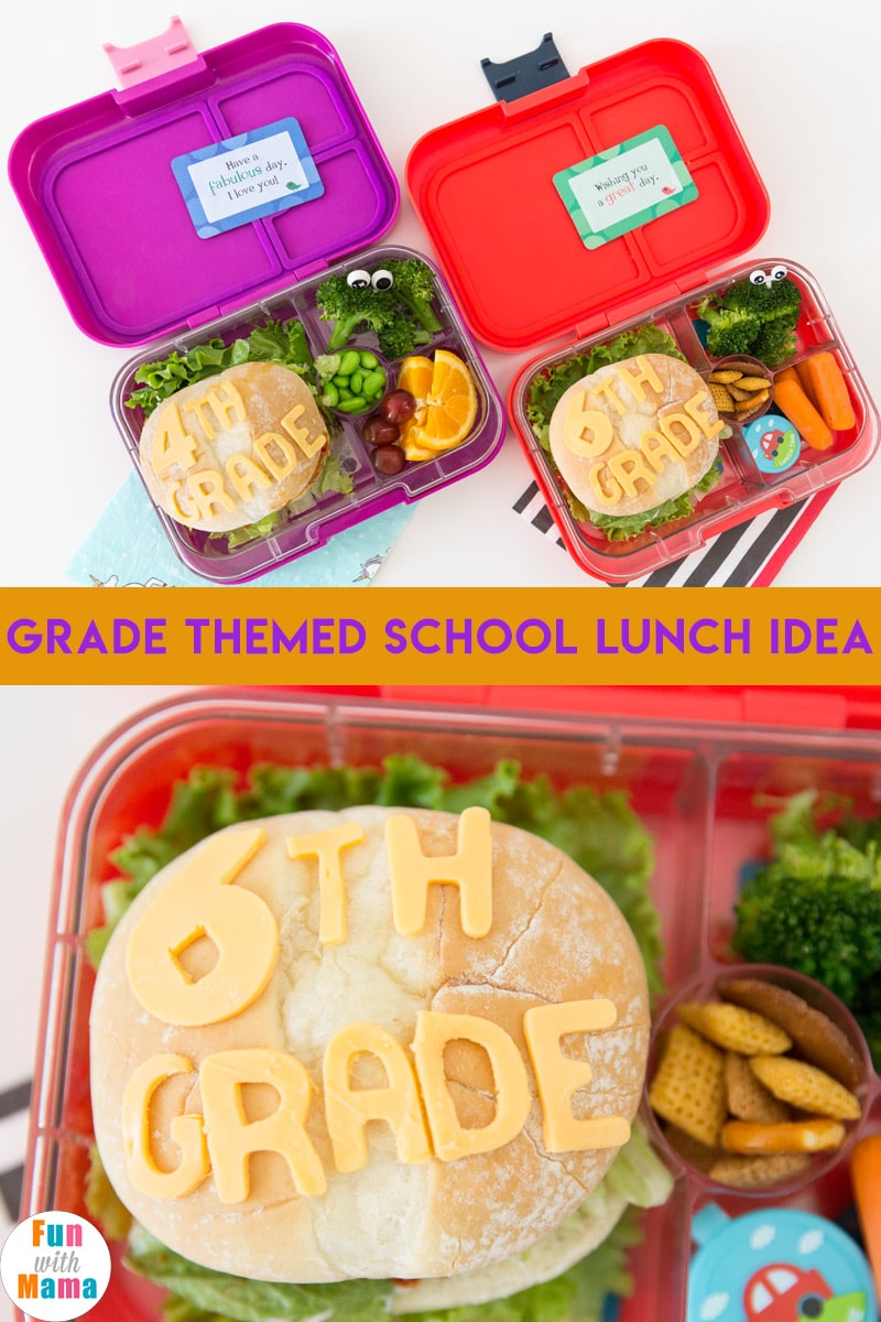 Fun grade themed back to school lunch ideas. #schoollunch #schoollunchideas #bento