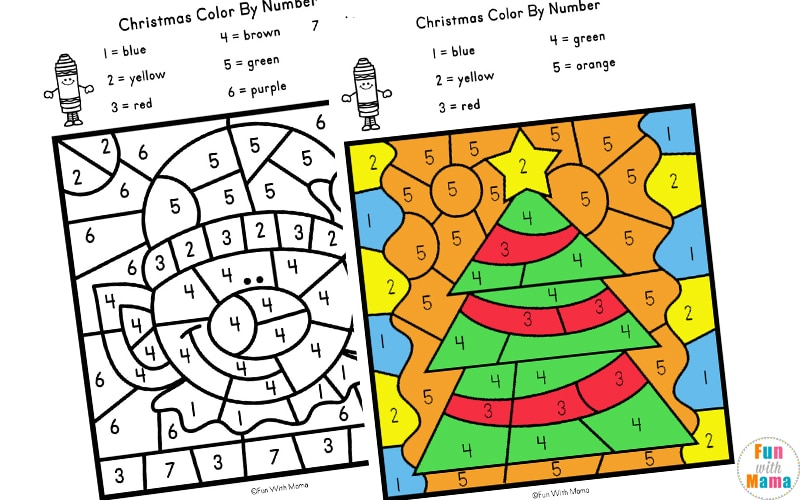 Christmas Color By Number Worksheets Fun With Mama