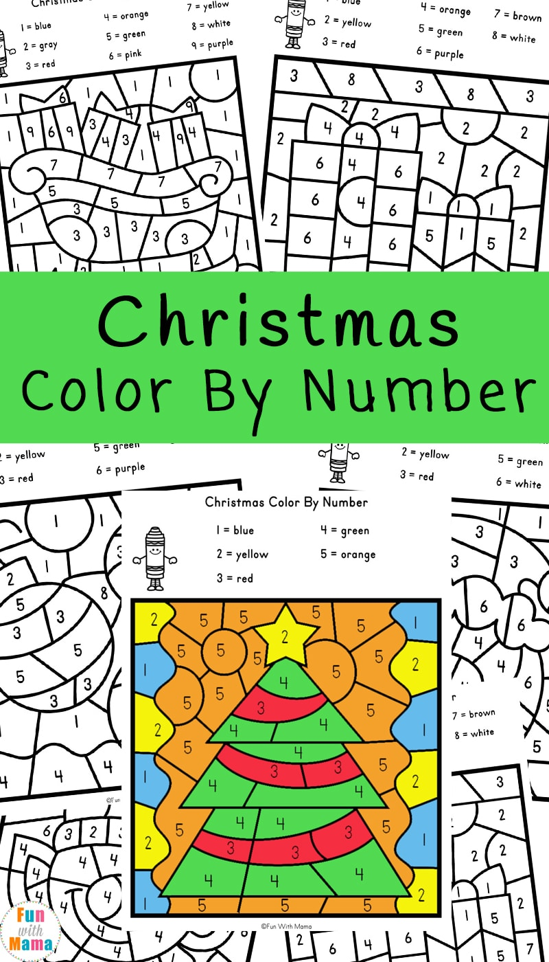 - Christmas Color By Number Worksheets - Fun With Mama