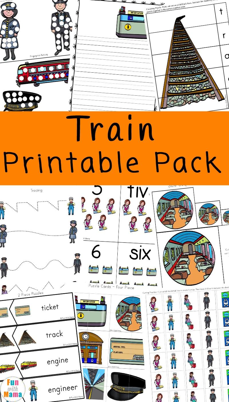 train printable pack for early learners