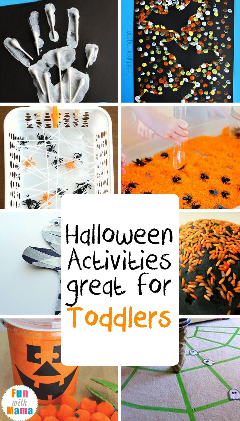 Super fun and easy activities to inspire toddlers to have an exciting Halloween! #halloween #toddlers #halloweenactivities #crafts #sensory #grossmotor #finemoter