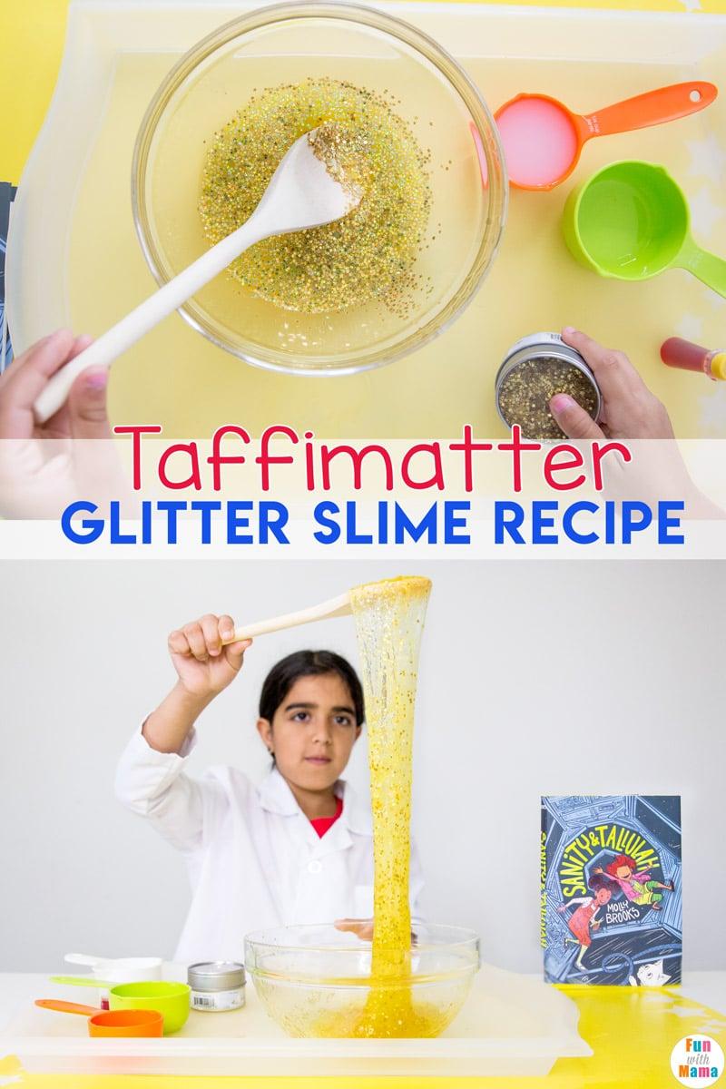 This glitter slime recipe includes a fun book inspired slime tutorial. #slime #slimetutorial #slimerecipe