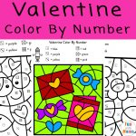 Valentine Color By Number Worksheets