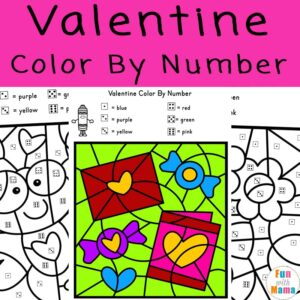 valentine color by number