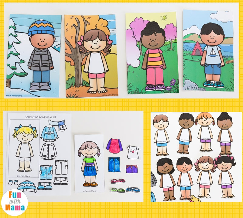 Printable Paper Dolls For Spring Summer Winter And Fall Fun With Mama