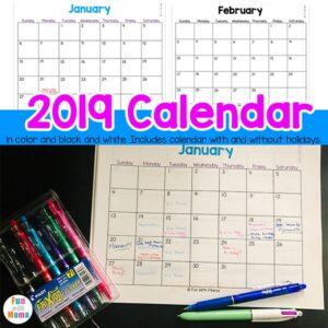 printable calendar 2019