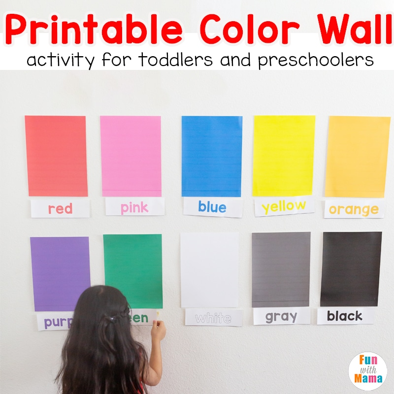 Learn Colors Wall Printable Activity For Toddlers And Preschoolers - Fun  With Mama