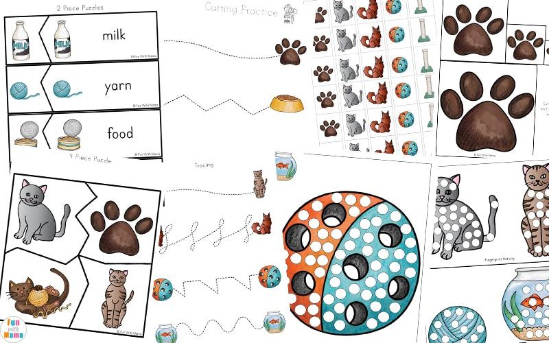 cat printable for preschool learning