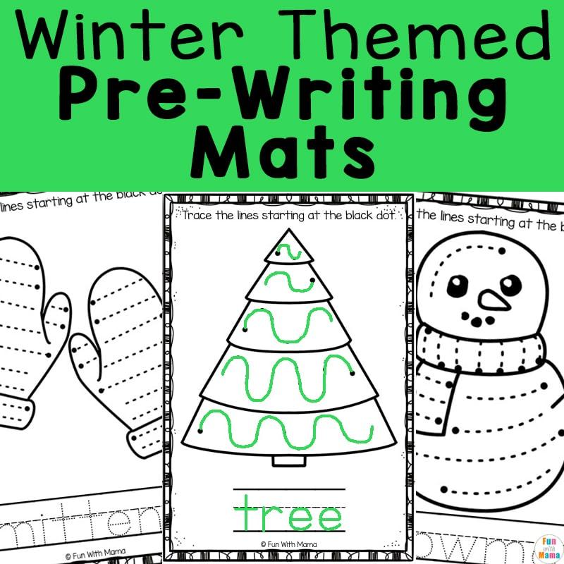 Winter themed pre-writing mats