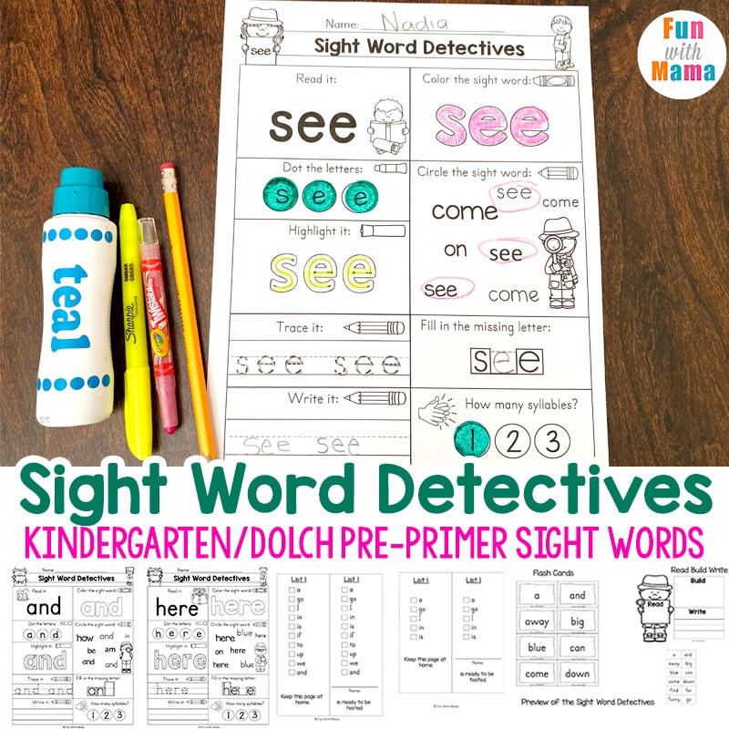 Pre K Sight Words