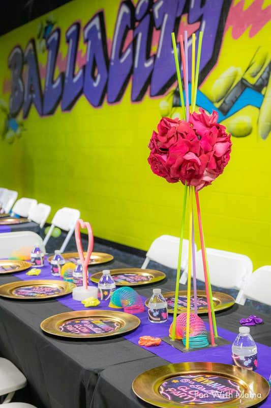table settings for glow in the dark birthday party