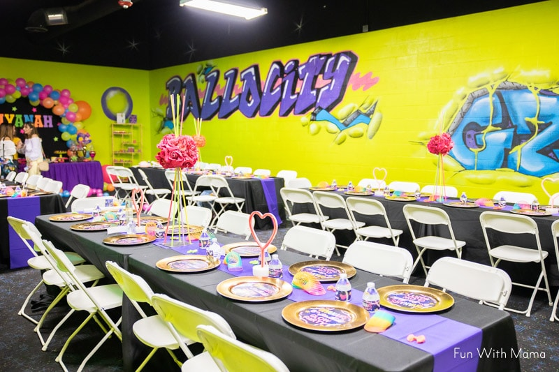 tables and chairs for birthday guests