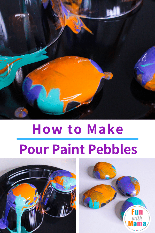 how to make pour paint pebbles