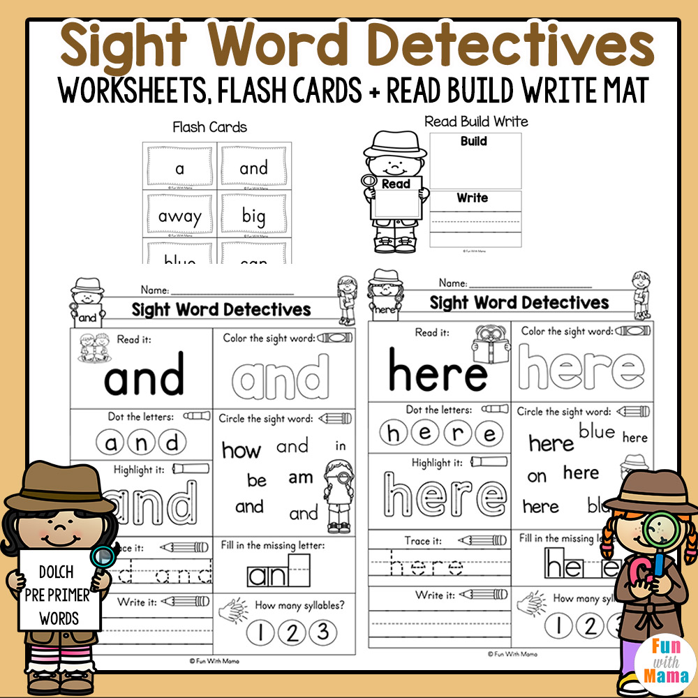 Pre K Sight Words Worksheets Fun With Mama - Download Color By Sight Word Worksheets For Kindergarten Pictures