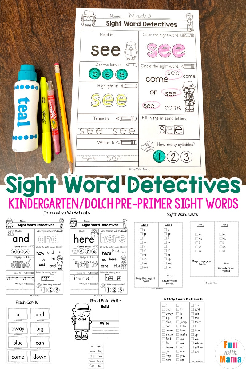 - Pre K Sight Words Worksheets - Fun With Mama