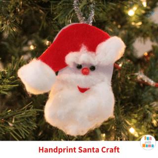 handprint ornament santa