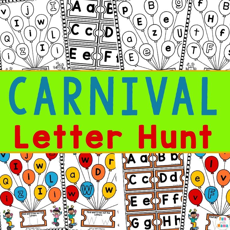 carnival letter hunt preschool learning packet