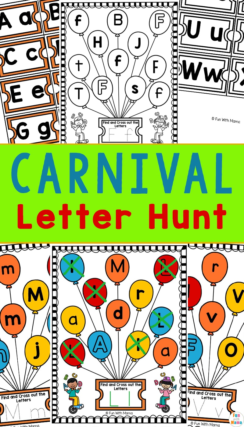 carnival letter hunt preschool letter worksheets