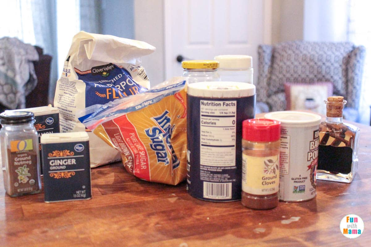 ingredients needed for gingerbread decorating