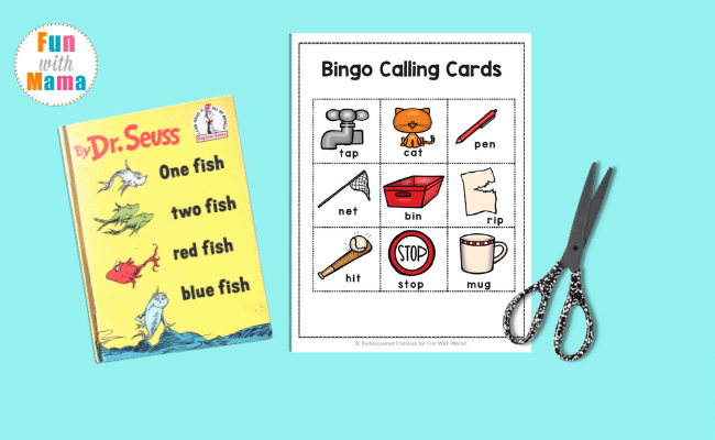 One Fish Two Fish rhyming words for kids printable