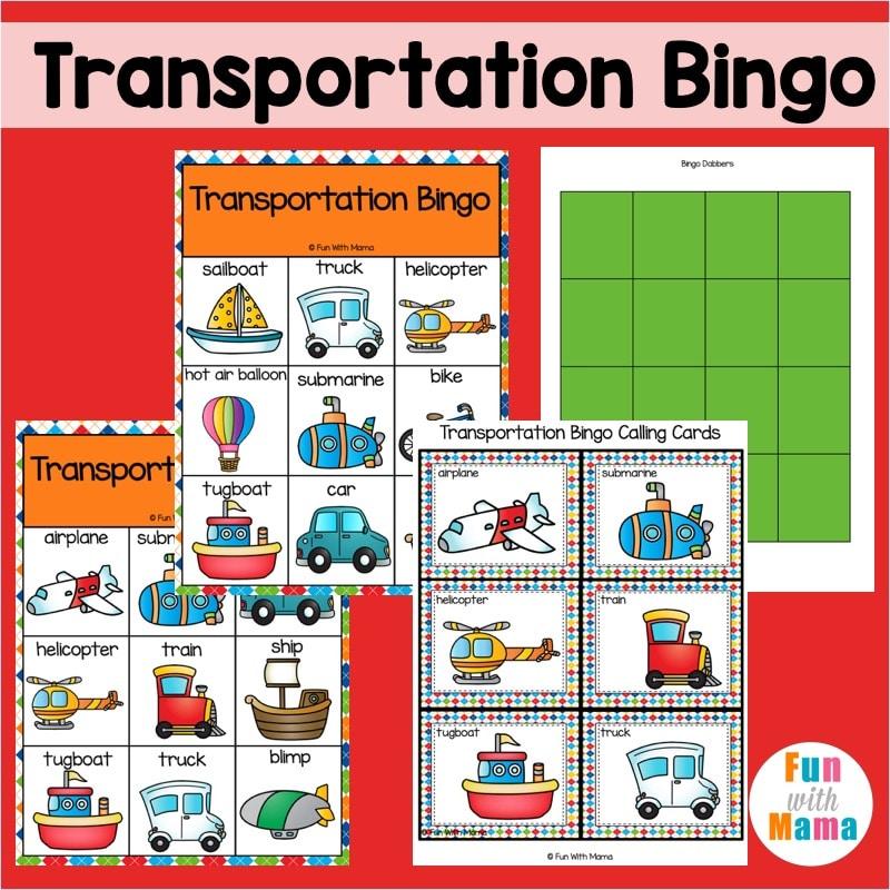 transportation bingo game for kids