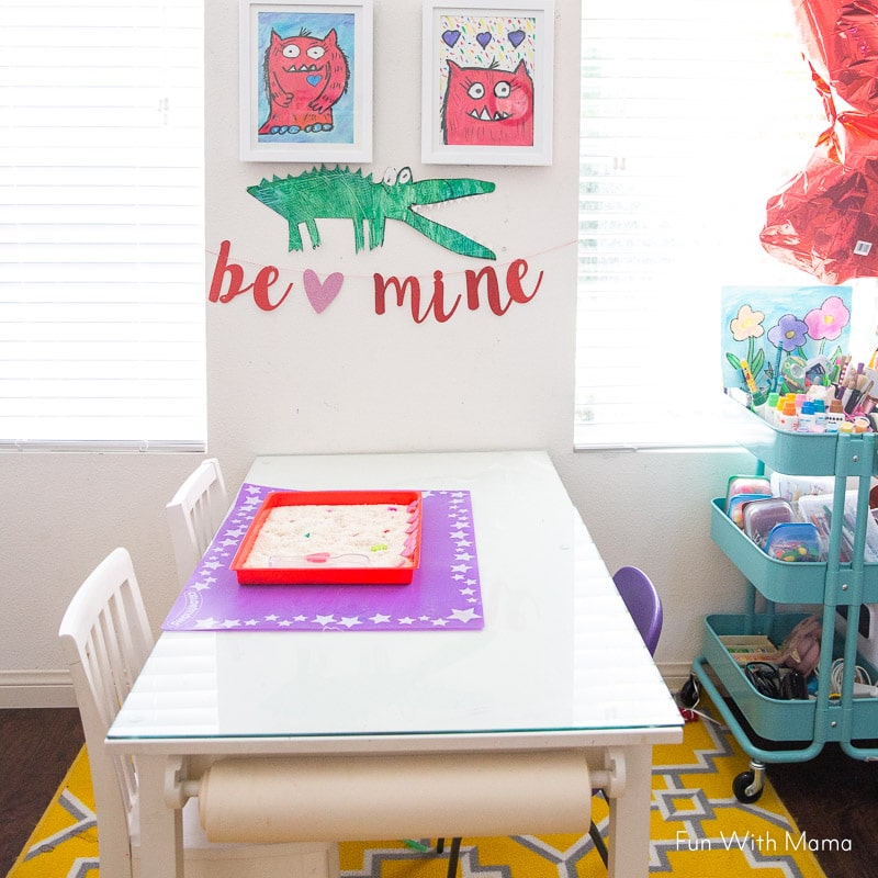 Valentine Sight Word Activity in playroom
