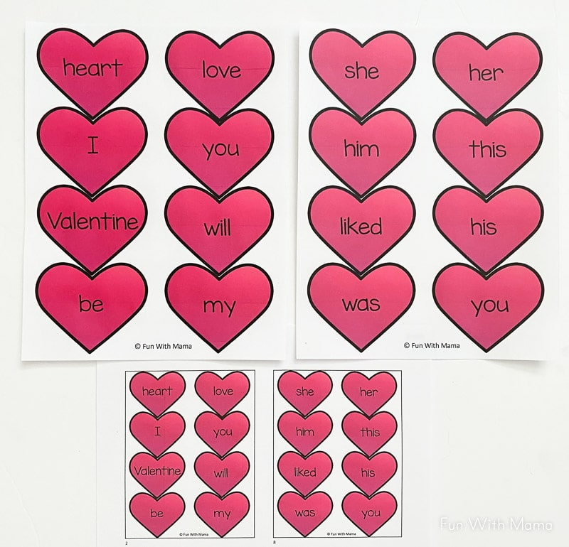 Valentine Sight Word Activity printable