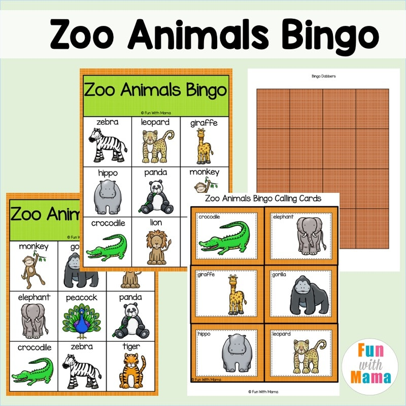 zoo animal bingo