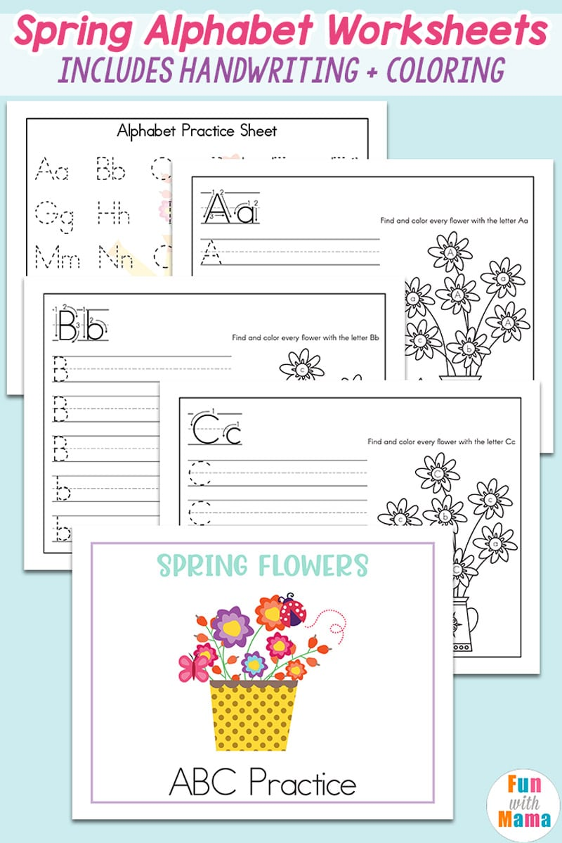 Spring Alphabet Recognition Handwriting Worksheets