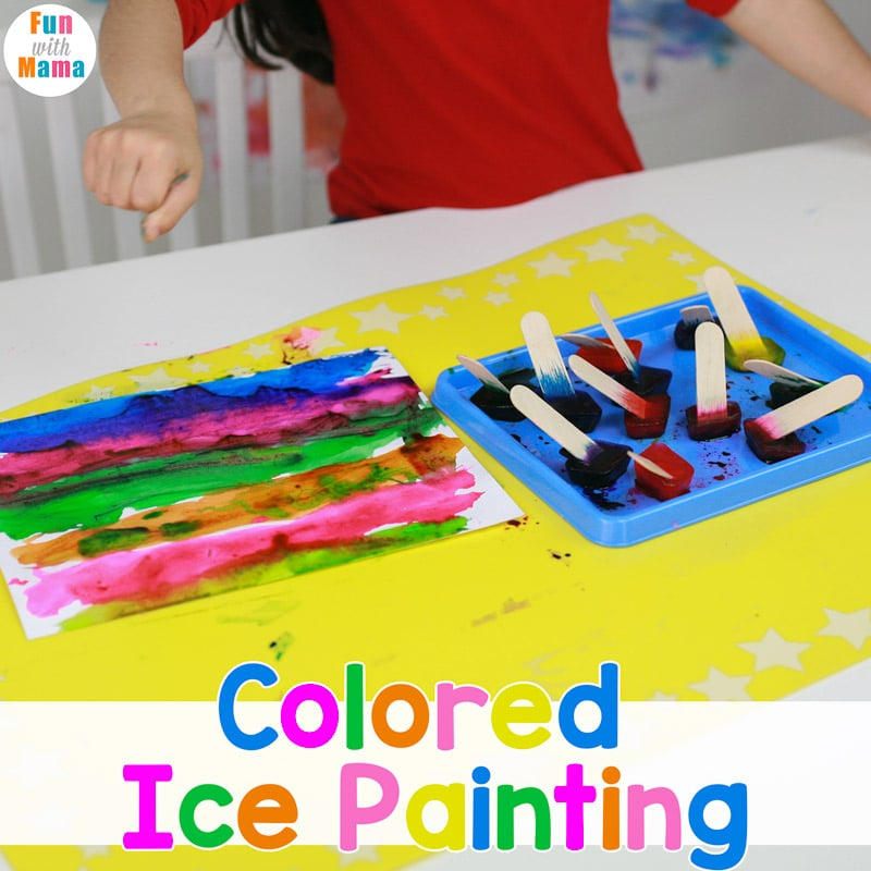 Colored Ice Painting with Colored Ice Cubes