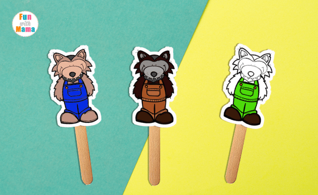 The three little wolves puppets