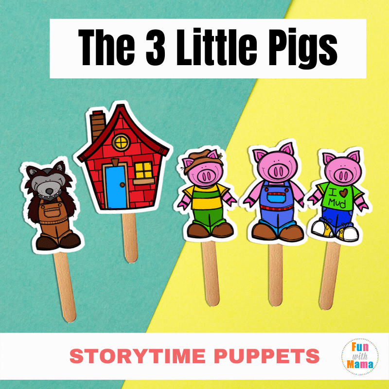 Three Little Pigs Hansel And Gretel Halloween 2020 Free Printable Stick Puppets: The Three Little Pigs   Fun with Mama