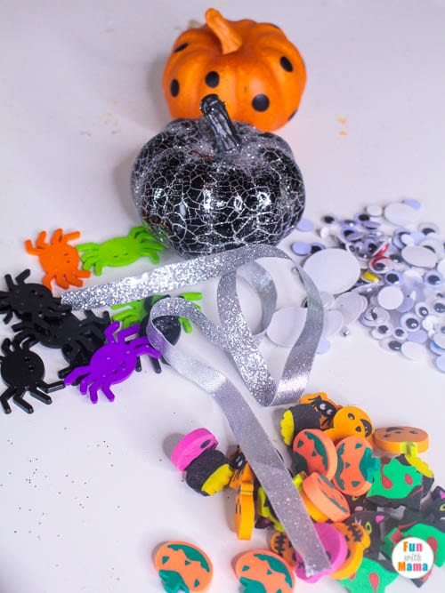 supplies for Halloween playdough kit