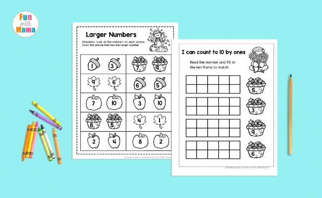counting worksheets on blue background