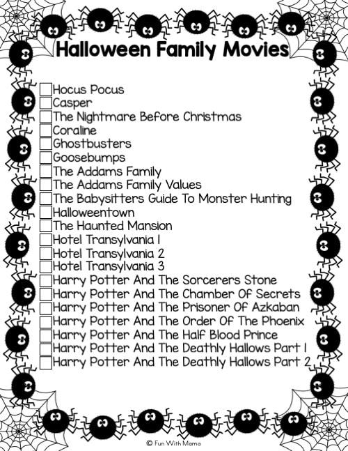Halloween movies PDF