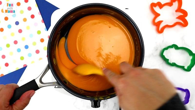 making playdough in pan on stove